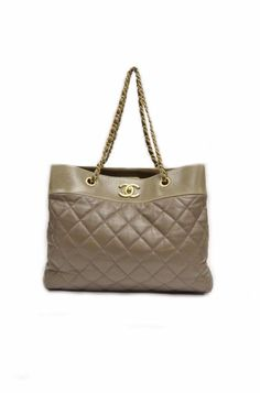 Chanel Taupe Brown Large Quilted Shopping Gold Hardware Tote Handbag  270167BK #Chanel #TotesShoppers