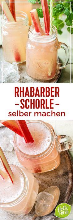 Leckere Rhabarber Rezepte. Wir haben für die Rhabarbersaison ein leckeres Getränk: Rhabarber Schorle und eine Tarte mit Rhabarber und Vanillepudding für Dich. Damit kannst du den Sommer richtig genießen. Die erfrischende Schorle mit Rhabarber, Zitrone und Ingwer kann man auch gut zum Picknick mitbringen. Dei süße Tarte ist ein perfektes Geschenk oder Dessert zum Sommerfest.  hellofresh / kochbox / kochen  #hellofreshde #kochbox #rhabarber #rezept #schorle #getränk #drink #tarte #kuchen…
