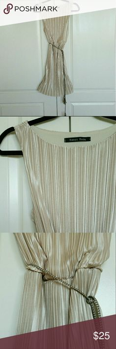 Champagne Pleated Dress @tea_n_yoga at Poshmark   Champagne Pleated Dress with rope tie.  Soft, thin material dress. With a lightweight rope tie.  Lined only at the top.   NOTE - missing the material tag. Dresses