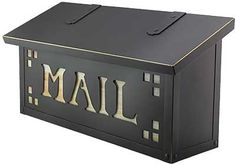 """Classic Solid-Brass Horizontal Mailbox with """"Mail"""" Stencil and Decorative Glass 