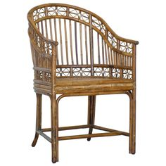 A Indochine Horseshoe Armchair made of rattan and woven cane. Shown in vintage cane stain. Dining Table Chairs, Bar Chairs, Living Room Chairs, Ikea Chairs, Dining Area, Dining Room, Rattan Furniture, Outdoor Furniture, Cane Furniture