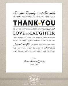 Custom Size Wedding Reception Thank You Card - Wedding Signage - Digital, Printable