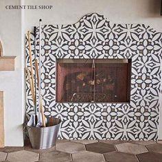 Cement Tile Shop - Encaustic Cement Tile Zebra Charcoal