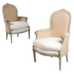 A Fine Pair of French Neoclassical Bergere Armchairs - France - c1880