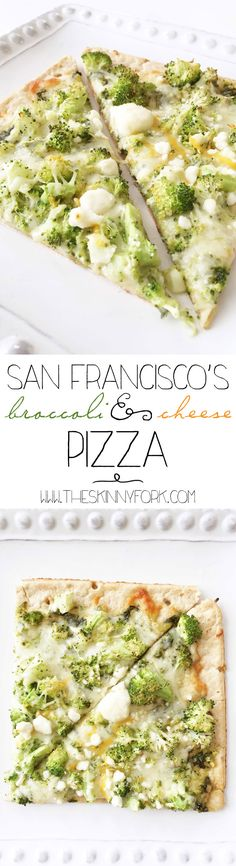 San Francisco's Broccoli & Cheese Pizza - A delightful 'Inside Out' themed pizza! TheSkinnyFork.com #InsideOutMovieNight #Ad