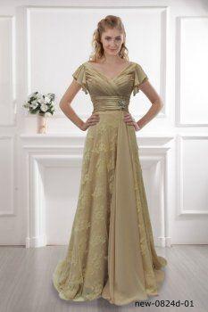A-ligne de robe champagne robe robe épaule enveloppé