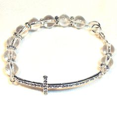 Cross Bracelet  Glass and Clear Crystals by lindab142 on Etsy, $32.00