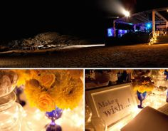 When Brazil Meets Greece Wedding @ Alemagou, Mykonos by De Plan V. Alemagou bar restaurant, Ftelia beach by night, beach party area, make a wish corner, wish book, welcome dessert table, decoration details, scenographic lighting.