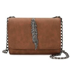Vintage Women Shoulder Crossbody Bags Nubuck Leather Chain Sling Bag Lady Messenger Handbags Feather Small Flap Day Clutch