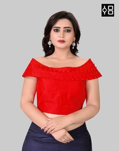 Shop the Latest Designer Red Embellished Boat Neck Saree Blouse Online for Women at Best Prices in India. Red Fashion, Indian Fashion, Style Fashion, Indian Party Wear, Indian Wear, Red Blouses, Blouses For Women, Boat Neck Saree Blouse, Blouse Batik