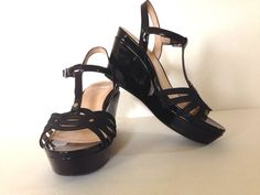 I love a classic black patent wedge shoe. It never goes out of style. Womens Nurture Size 10 M Black Patent Leather Wedges Sandals High Heel 4 in. #Nurture #Wedges