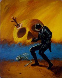 "70sscifiart: ""Jack Gaughan, 1974 "" Crashed spaceship + skull mountain"