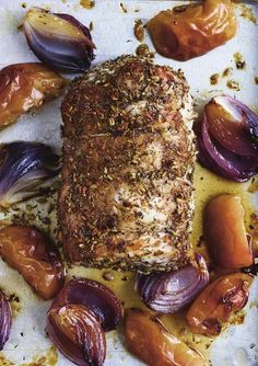 Roast Pork Loin with Apples and Onions Recipe