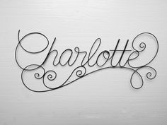 Charlotte arabesque stun fil name, baby child name, child bedroom wall decoration, door plate, gift idea Arabesque, Kid Names, First Names, Wire Letters, Wire Name, Iron Wire, Kids Wall Decor, Types Of Yarn, Floral Wall