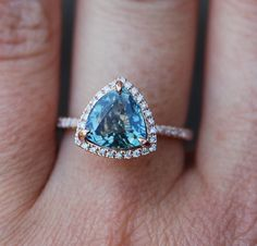 Rose Gold Engagement Ring. 3ct Teal Blue Green by EidelPrecious