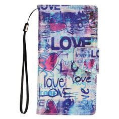 Insten Love Leather Case Cover Lanyard with Stand/ Wallet Flap Pouch For Alcatel Dawn/ Ideal/ Streak #2324796