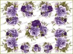 LiLaC TeA RoSeS & SWaGs ShaBby DeCALs ~LaRGe~ | Designs by Iris
