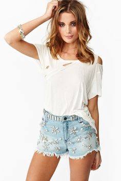 Crystallized Cutoff Shorts