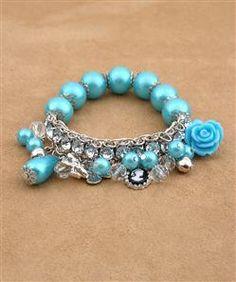 Blue Beaded Fashion Bracelet w/Charms Stocking Stuffer New