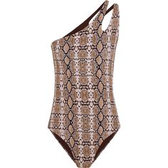 Melissa Odabash Jamaica one-shoulder snake-print swimsuit ($315) ❤ liked on Polyvore featuring swimwear, one-piece swimsuits, brown, swimsuit swimwear, brown one piece swimsuit, one shoulder one piece swimsuit, melissa odabash and colorful bathing suits
