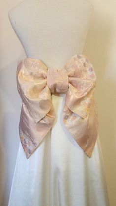 Vintage KIMONO Wedding sash OBI bow belt gold silk brocade