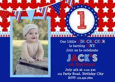 4th of July Birthday Invitation , 1st Birthday Invitation