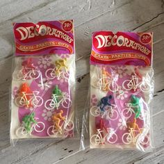 Mod Era Cake Decorations Vintage Cupcake Toppers Bicyclists