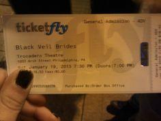 My black veil brides ticket