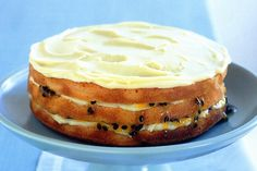 White Chocolate & Passionfruit Layer Cake by Taste. Sweets Recipes, Baby Food Recipes, Baking Recipes, Free Recipes, Passionfruit Recipes, Layer Cake Recipes, Layer Cakes, Cake Tasting, Recipe Sites