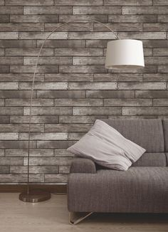 Fine Decor Wooden Plank Wallpaper Gold / Brown - Fine Decor from I love wallpaper UK Wood Effect Wallpaper, Brick Wallpaper, Wallpaper Roll, Fake Brick Wall, Home Living Room, Living Spaces, Plank, Home Furnishings, House Design