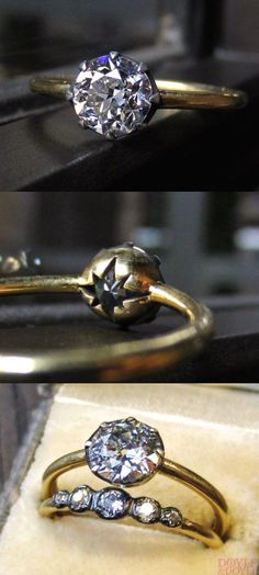 The classically beautiful Starry Night diamond engagement ring from Heirloom by Doyle & Doyle, designed and made in the USA. The perfect mix of antique inspiration and modern design, set with a vintage Old European cut diamond in oxidized silver and 18k gold. Click to see more!