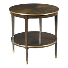 Woodbridge Furniture A top is surrounded by a brass gallery over 4 tapering legs that are joined by a low shelf. This Emery End Table crafted from hardwood solids and walnut veneer. Table Furniture, Modern Furniture, Home Furniture, Furniture Design, Furniture Showroom, Refurbished Furniture, Furniture Makeover, Antique Furniture, Furniture Ideas