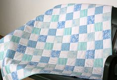 Baby boy quilt Crib Quilt for a boy Blue and by RedNeedleQuilts, $98.00
