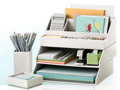 Office Organization: Take advantage of the vertical with a stackable desk system.
