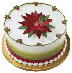 Poinsettia & Holly Christmas Cake