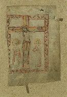 These are images of Walters Ms. W.757, Leaf of a Missal with the Crucifixion and Canon of the Mass, on parchment, Late 11th or early 12th century CE. German/Austrian.