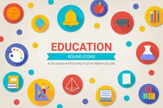 Check out Round education icons by miumiu on Creative Market