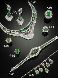 SUITE OF DIAMOND AND EMERALD JEWELLERY