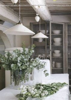 Cupboards with chicken wire doors in an Aix en Provence home (photographed by Pierrick Verny for Maison Côté Sud magazine) French Grey, French Country, French Chic, French Cottage, French Style, Chicken Wire Cabinets, Interior Exterior, Interior Design, South Shore Decorating