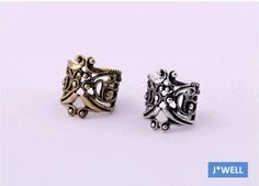 1pc J-WELL Jewelry Silver / Gold Classic Tribe Mask Ear Wrap Cuff Clip Earrings