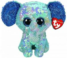 From the 2019 Ty Flippables collection. Flippy Color Changing Sequin Plush stuffed animal collectible. Plush stuffed animal collectible toy. Sparkly elephants, the color of the sky.