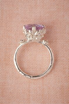 """Posy"" ring with pink amethyst & floral details from BHLDN by Anthropologie."
