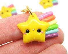 Kawaii Star Charm, Kawaii Shooting Star Charm, Kawaii Clay Charm, Kawaii Stitch Marker, Rainbow Star Necklace, Space Jewelry