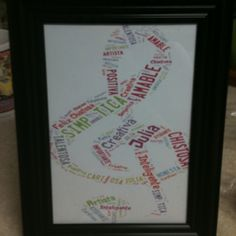 Sentimental and personal student gift. I wrote the students names and adjectives that describe them in shapes and colors that fit their personality. Printed these off of tagxedo.com and framed them for end of the year student gifts!