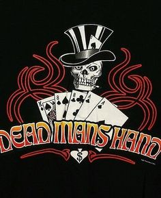 Dead Mans Hand T-Shirt Biker Skull Aces & Eights Black Size XL Heavy Cotton