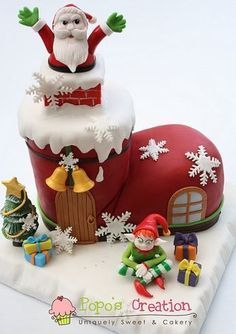 Santa springing out of a Chimney in a boot what a fun Christmas cake idea Christmas Cake Designs, Christmas Cake Decorations, Christmas Cupcakes, Christmas Sweets, Holiday Cakes, Christmas Cooking, Christmas Goodies, Xmas Cakes, Chocolate Decorations
