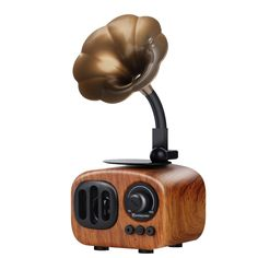 Retro Trumpet Style Speaker Bluetooth Wireless Wooden Stereo with Mic FM radio TF Card Colors) - Wild Wireless World Bluetooth Speakers, Wireless Headphones, Portable Speakers, Lost Wallet, Wooden Speakers, Ray Charles, Vintage Design, Trumpet, Wooden Boxes