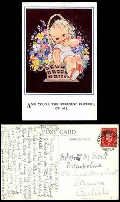 Agnes Richardson 1939 Old Postcard Little Girl The Sweetest Flower of All Basket | eBay
