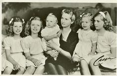HRH Princess Sybilla of Sweden with her children Desirée, Christina, Birgitta, Margaretha and Princes Carl Gustaf in 1947
