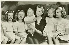 HRH Princess Sybilla of Sweden with her children Desirée, Christina, Birgitta, Margaretha and Princes Carl Gustaf in 1947